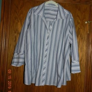 Women's Foxcroft Blue Grey & White Striped Blouse